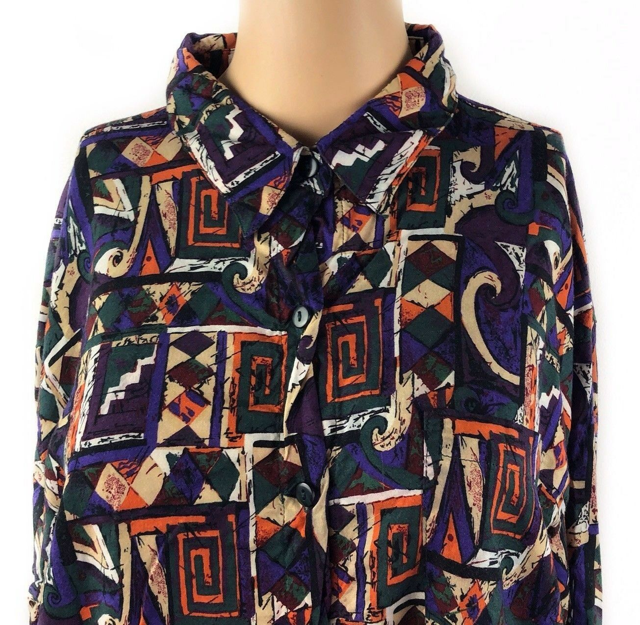 Classic Kikomo Authentic Shirt 22W 42 Multicolor Abstract Button Front Vintage