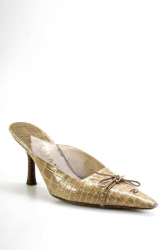 Chanel Womens Vintage Pointed Toe Alligator Mules
