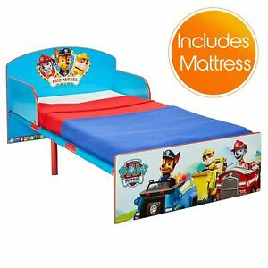 Paw-Patrol-Toddler-Bed-Fully-Sprung-Mattress-Children-2-Protective-Side-Panels