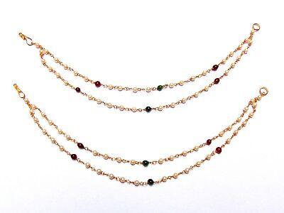 Supported Heavy Earrings Indian Jhumki Jhumka Chain Ear Pearl Chain Kaan Jewelry