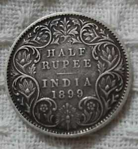 1899-QUEEN-VICTORIA-EAST-INDIA-COMPANY-HALF-RUPEE-RARE-SILVER-COIN