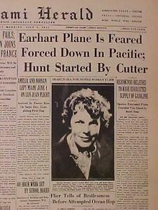 VINTAGE NEWSPAPER HEADLINE~AMELIA EARHART AIRPLANE FLIGHT DOWN LOST PLANE CRASH