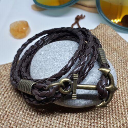 Leather Mens Bracelet Surfer Wristband Wrap Multi Row Steel Clasp Gift Bag UK