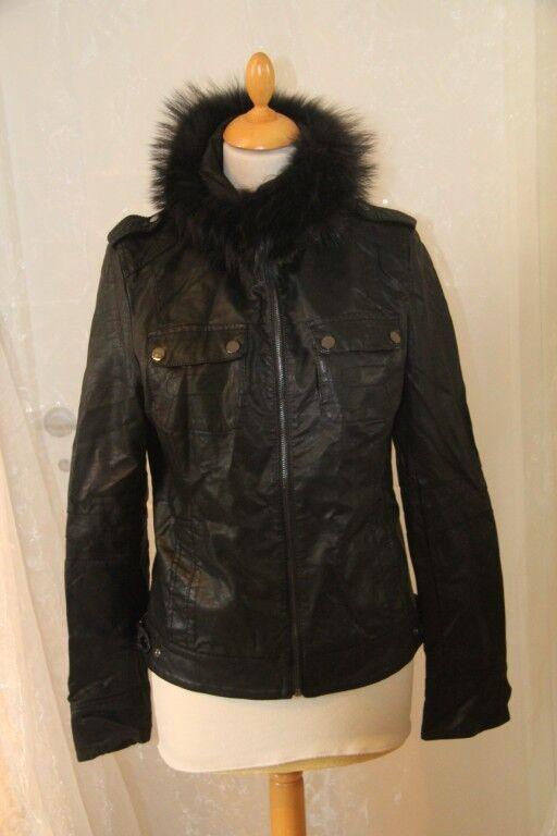 OSLEY   -  Veste imitation cuir Beige col amovible black size 40 neuf