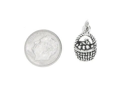 SILVER 2D BUNNY IN THE BASKET EASTER BASKET CHARM OR PENDANT