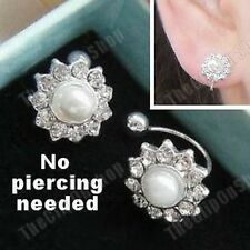 U CLIP ON classic studs PEARL&CRYSTAL rhinestone STUD EARRINGS elegant diamante