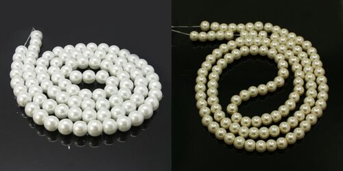 8mm 12mm Blanco Y Marfil cristal perla redonda granos de 4mm 6mm 10mm box121