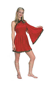 Image is loading RG-Costumes-Women-039-s-Red-Adult-Roman-  sc 1 st  eBay & RG Costumes Womenu0027s Red Adult Roman Toga Short Dress Size Small 1-3 ...