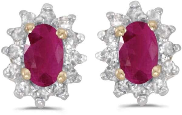 Hell 10k Gelbgold Ovaler Rubin & Diamant Ohrringe E6410-07