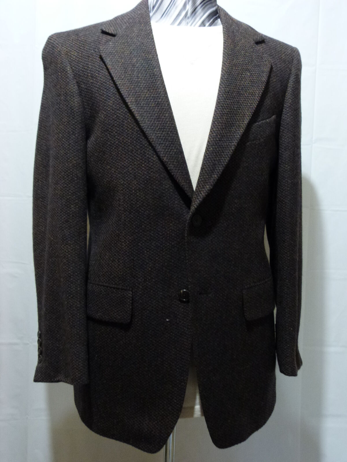 Men's Two Button Sport Coat, 36 R, 100% Wool, Brown, Made in USA,NWT