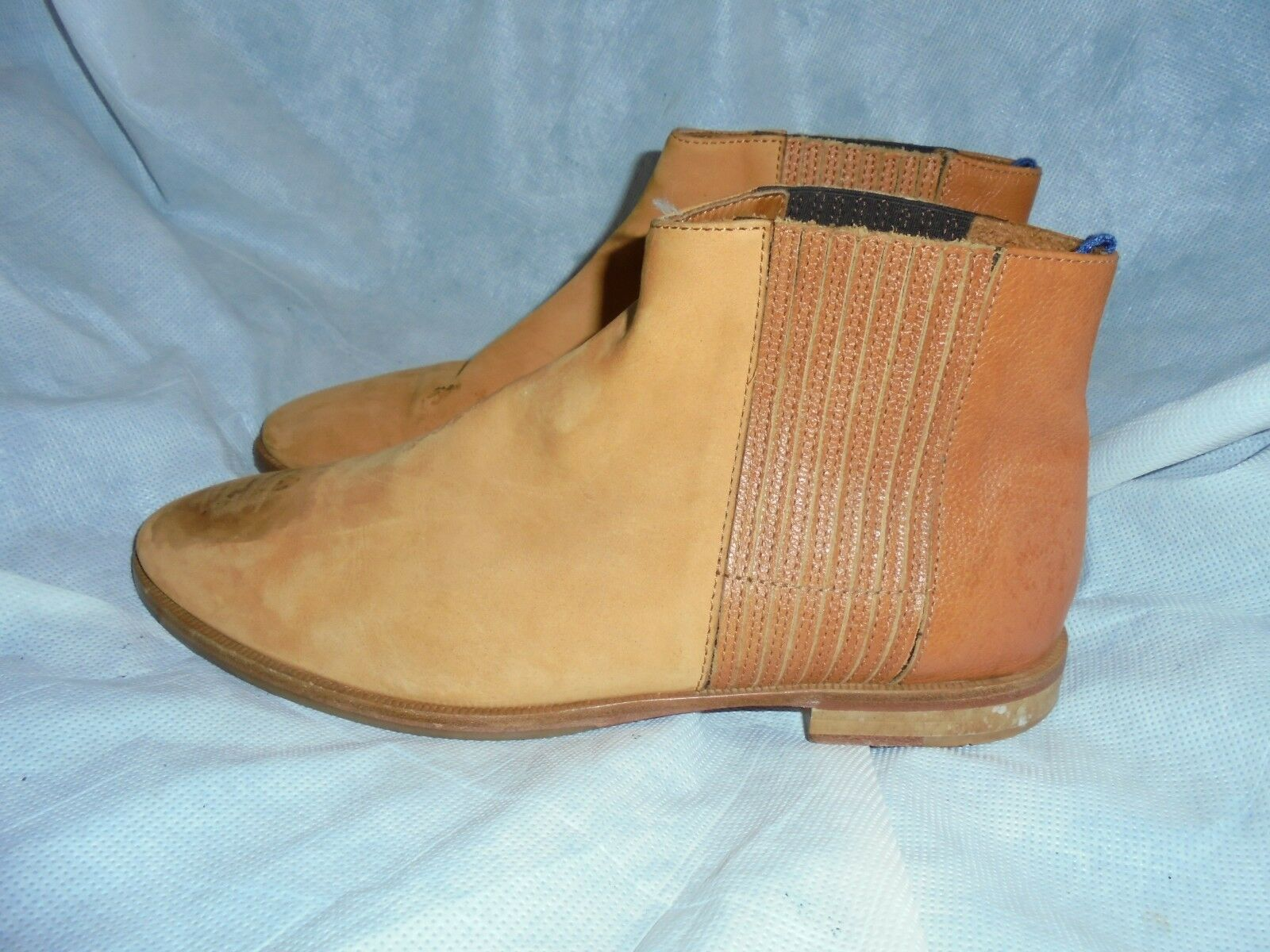 TOAST LADIES TAN LEATHER PULL ON ELASTICATED ANKLE BOOT SIZE US 9