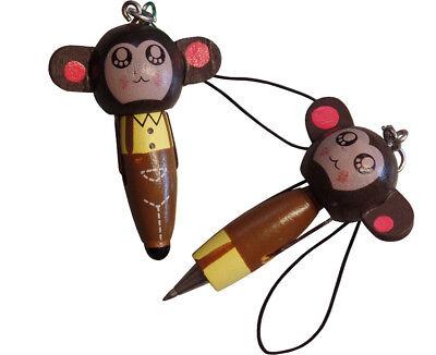 3 Supplied Wooden Monkey Pen Keyfob
