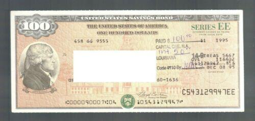 $100 Dollar USA Savings Bond 2002 Jefferson One Hundred Crisp LA Note Bill Card2
