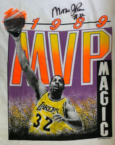 MINT MAGIC JOHNSON #32 Autographed 1989 MVP T-Shir
