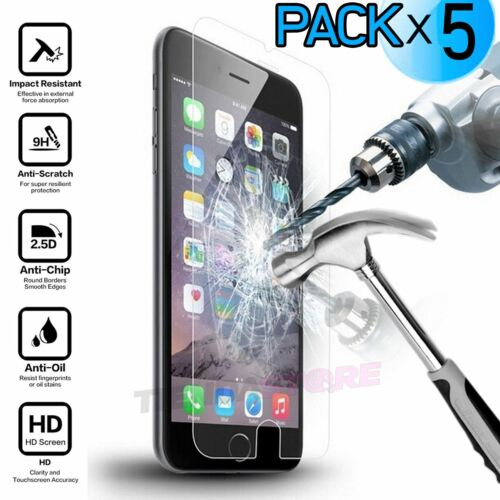 PACK X5 Protector pantalla CRISTAL TEMPLADO IPHONE 7 PACK AHORRO