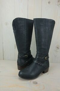 Details about UGG ESPLANADE BLACK LEATHER TALL HARNESS WOMENS BOOTS US 11 NEW