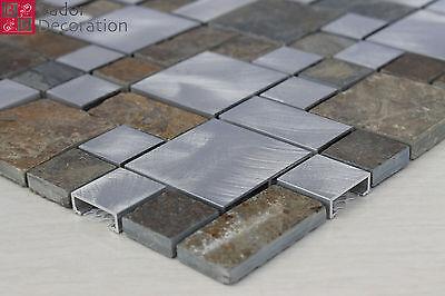 Glasmosaik Mosaikfliese Mosaik Mosaike Marmor Alu gebürstet Braun Grau Silber
