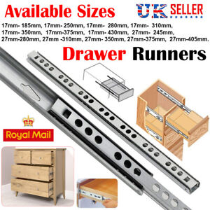 2 Pairs DRAWER RUNNERS 27MM-350MM Groove Ball Bearing Metal Slides Kitchen Soft