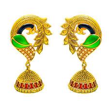 Earrings One Two Gram Gold Plated Kundan Pearl Polki Ad Cz Jade Jewelry Set 7338