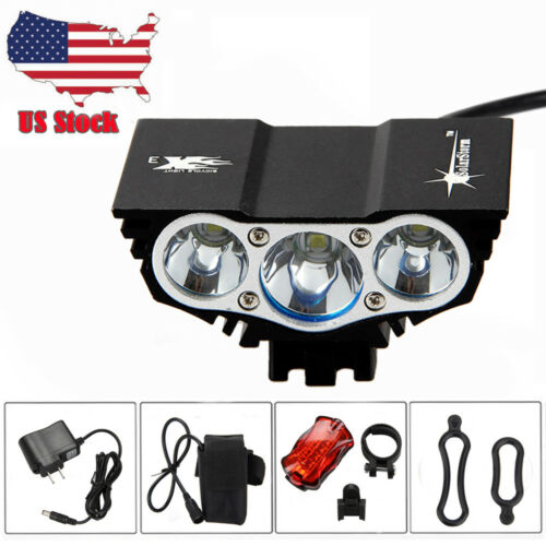 Rechargeable 20000LM X2 X3 T6 LED Bicycle Light Bike Headlamp Battery Rear Light