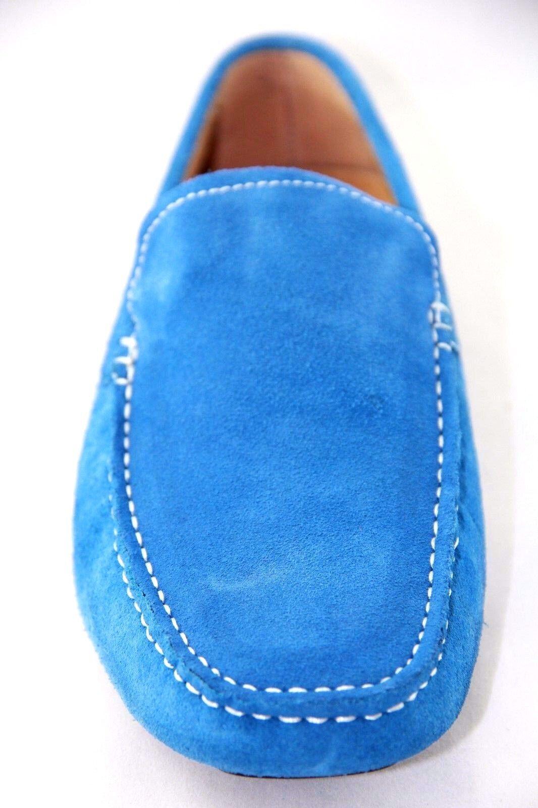 Salo New York Men/'s Slip On  Sky Blue Suede Stylish Moccasins Style #566-13