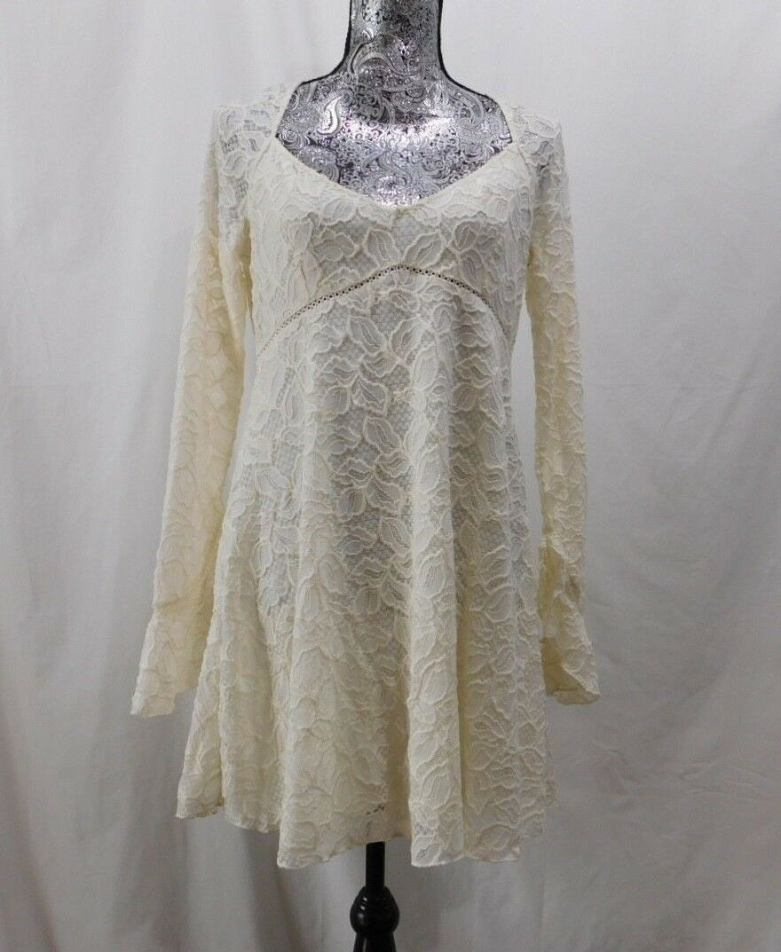 New  Free People Ivory L S Lace Fit n Flare Dress.....S P