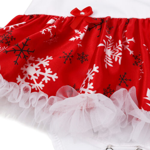 Girls Infant Baby Christmas Outfits Romper Tutu Skirts+Headband Kid Costume 4PCS
