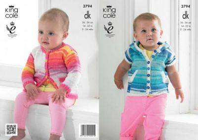 """BABY CARDIGAN /& HOODIE KNITTING PATTERN FOR 14-22/"""" /""""CHEST DK KING COLE 3794"""
