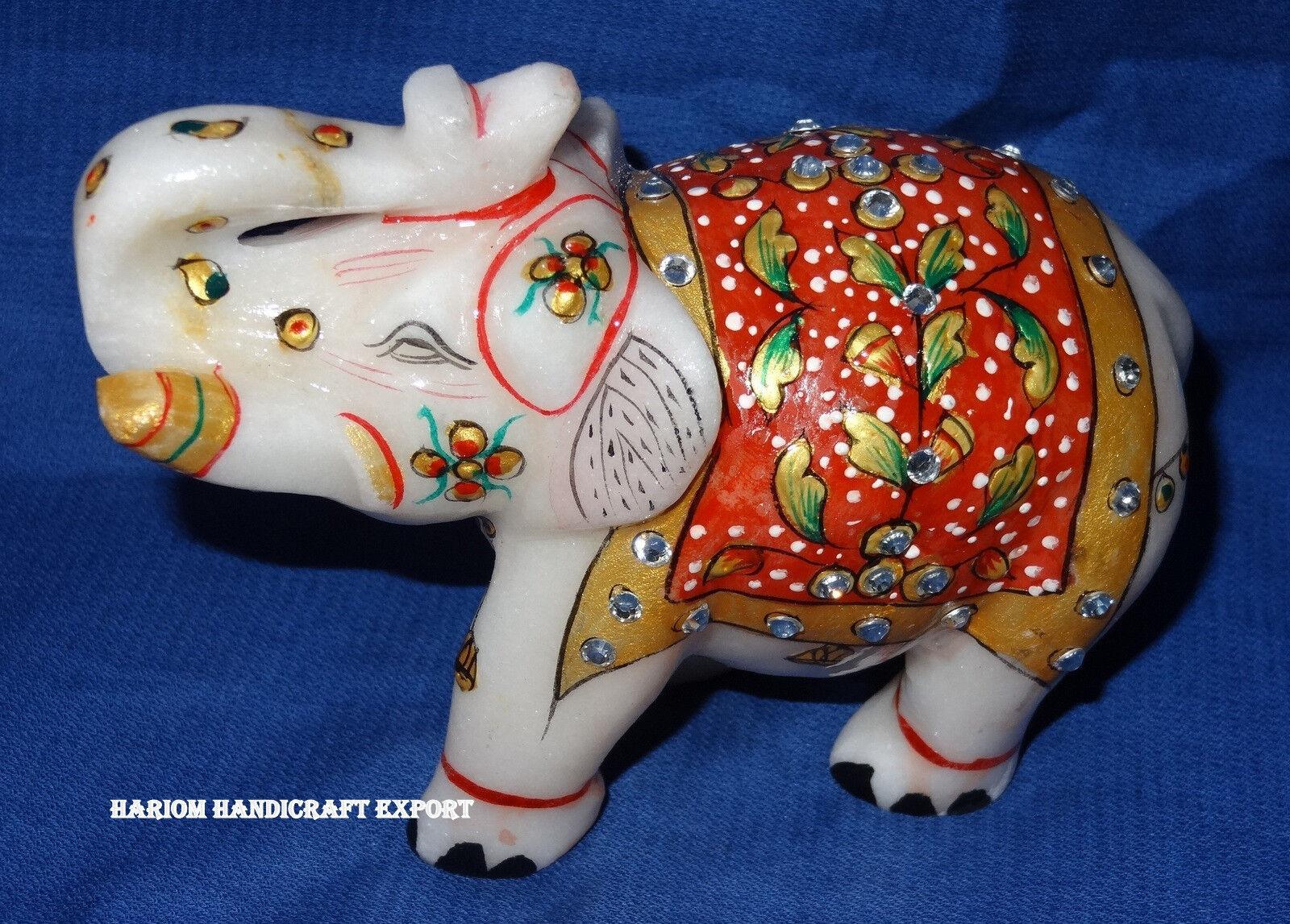 4  Jeweled Elephant Lepakshi oro Leaf Work Marble Jaipur Marquetry Arts Gifts