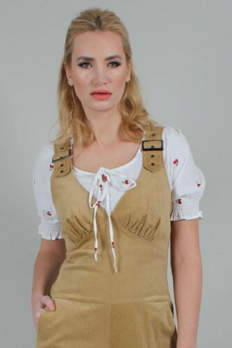 Voodoo Vixen Corinne en velours côtelé Dungaree Style Combinaison vintage JSA5761 UK 8-16New