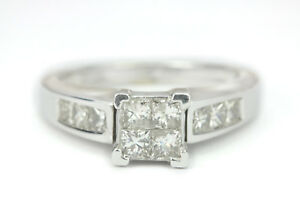 2-20-Quilate-Anillo-de-Compromiso-Diamante-Corte-Princesa-14K-Oro-Blanco