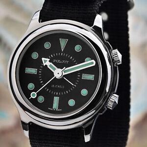 Poljot-RETRO-2612-Alarm-Handaufzug-Wecker-mechanische-russische-Uhr-NOS-Vintage