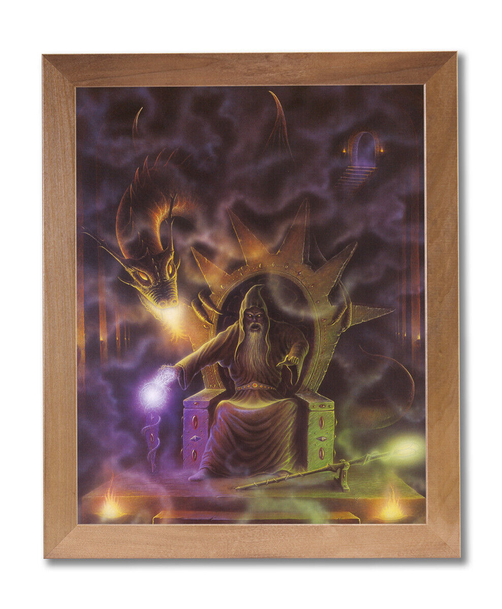 Dragon Fire Medieval Wizard   4 Wall Picture Honey Framed Art Print