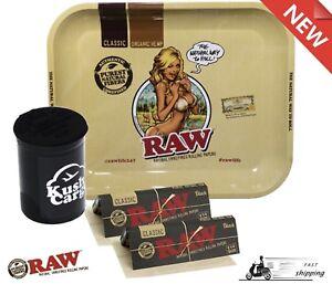 New Raw Metal Rolling Tray Bikini Girl Large Raw Black
