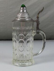 A3-Hohlboden-Glas-Bierkrug-mit-Zinndeckel-gruenem-Prisma-Stein-im-Deckel-S114