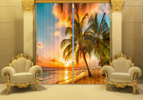 Waterfall 3D 2 Panel Blockout Drapes Fabric Photo Printing Window Curtains Mural