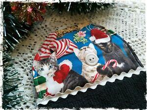 Merry-Christmas-BLACK-Hanging-Hand-Towel-Xmas-Cats-Handmade-Button-Close