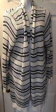 New GAP Body Cardigan Sweater White Blue Striped Long Tunic Knit Sz XL NWOT