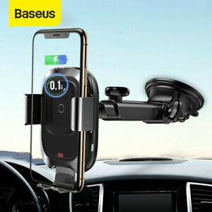 Details about Baseus Automatic Wireless Car Charging Charger Mount Clamping Phone Holder UK
