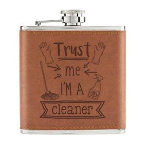 Trust-Me-I-039-M-A-Nettoyant-170ml-Cuir-PU-Hip-Flasque-Brun-Worlds-Best-Favori-Joke
