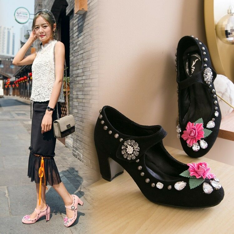 UK Womens Flower Rhinestone Round Toe Ankle Strap shoes Pumps High Heels Sandals