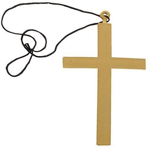 "Gold Plastic Monk/'s Cross Priest Nun Crucifix Costume Accessory 5/"" x 9/"" Necklace"