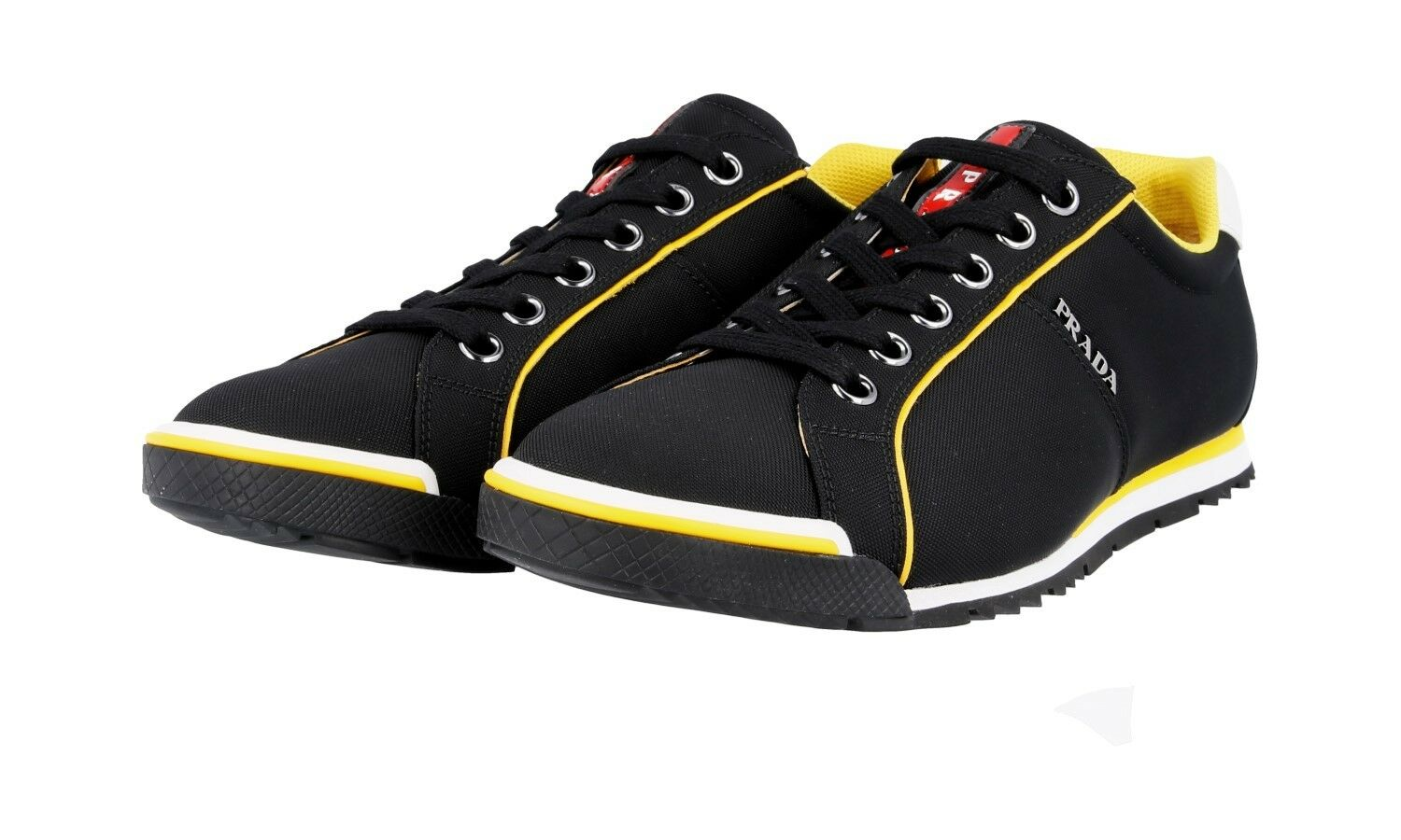 AUTH LUXURY PRADA SNEAKERS SHOES 4E2719 BLACK YELLOW NEW 9,5 43,5 44