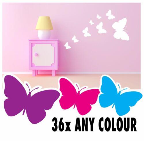 34 Butterfly Stickers Vinyl Wall Decals Girls Boys Bedroom art flowers