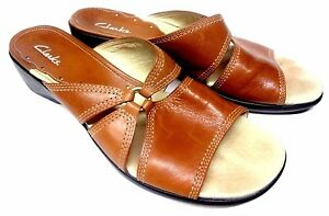 Clarks Brown Leather Mules Slides Slip On Women's Shoes 9.5