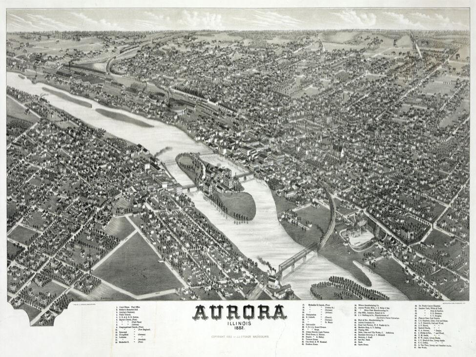 6034. Aurora illinois 1882. Panoramic view POSTER. B & W Wall Art Decoraive.
