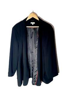 AUTOGRAPH-Plus-Size-26-Black-Longline-Collared-Waterfall-Blazer-Minimalist-Chic