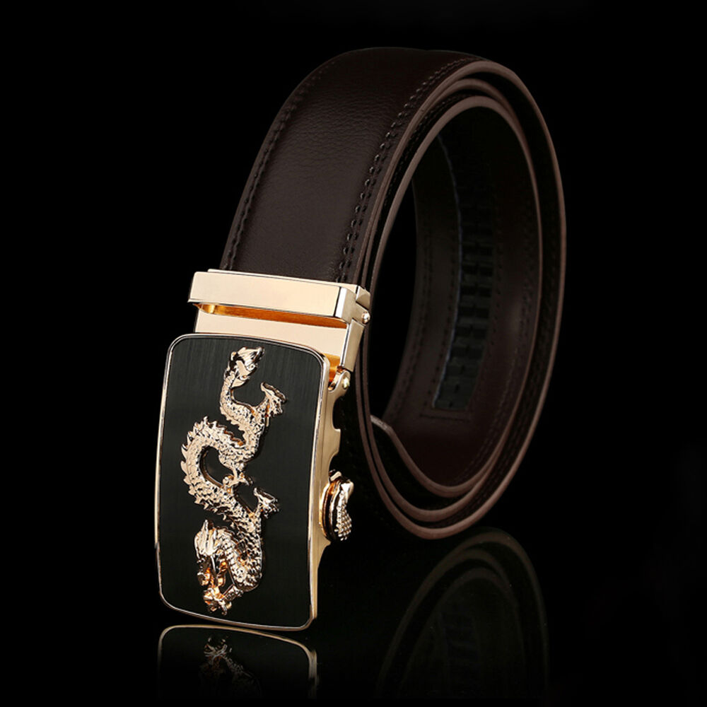 Fashion Men/'s Brown Genuine Leather Belt Automatic Buckle Waist Strap,#dragon