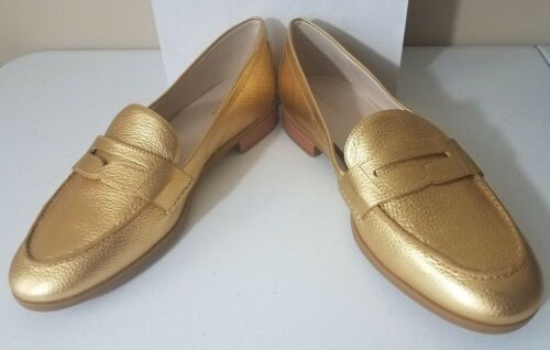 Womens Cole Haan Pinch Grand Penny Loafers Gold Leather NEW