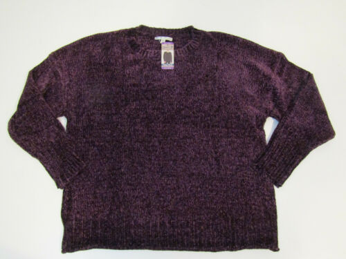 SEVEN Womens Sweater Blackberry Wine Ultra Plush Chenille L//S Pullover NWT L